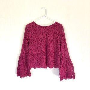 love bell sleeve blouse dark pink floral rose top